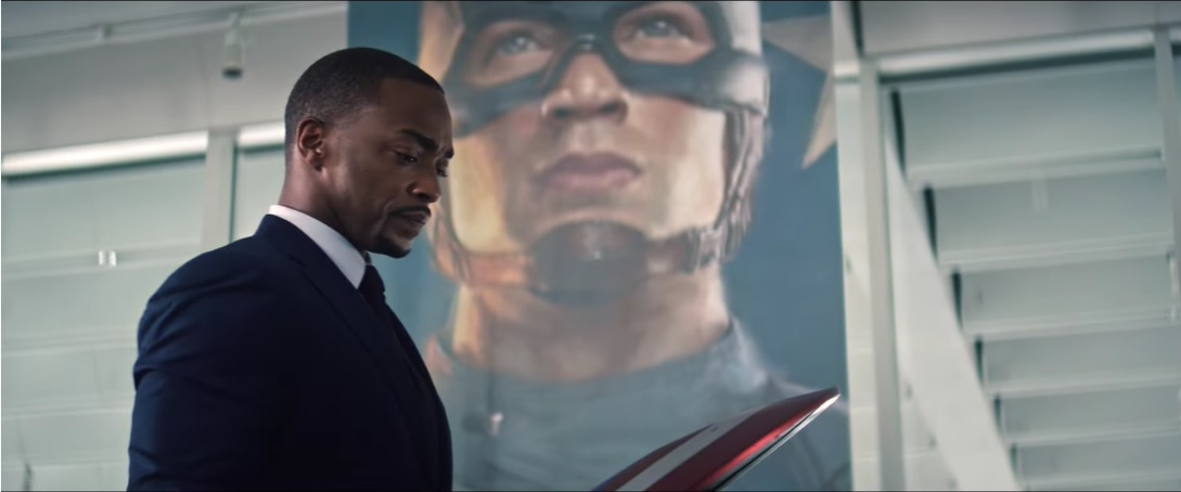 Falcon and the Winter Soldier Sam in front of Cap